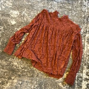 Anthropologie rust Lace top